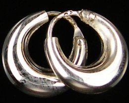MODERN SMALL12 MM LOOP STERLING SILVER EARRING MYT 522