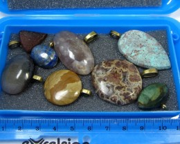 8 MIXED GEMSTONE PENDANTS-RE SELLERS PARCEL MYGM 507