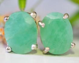 Jade earrings pastel green shade silver   WS 541