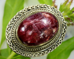 49.15 CTS TOURMALINE SILVER RING -SIZE 7 [SJ1571]