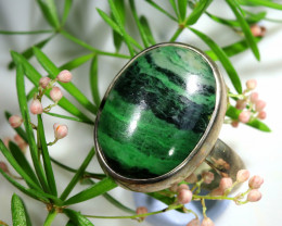 38.15 CTS JADE -SILVER RINGS SIZE 9 [SJ1594]