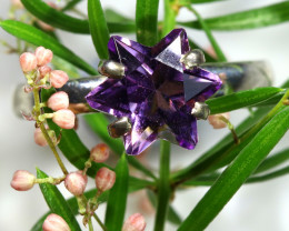 14.90 CTS AMETHYST STAR -SILVER RINGS SIZE 8 [SJ1592]