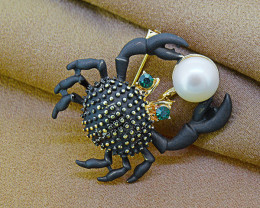 Goldfilled & Pearl Crab Brooch