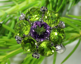 30.30 CTS PERIDOT AND AMETHYST SILVER RINGS SIZE 6.5 [SJ4521]