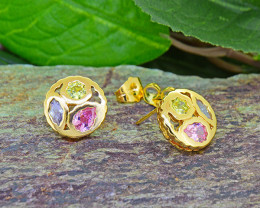 Multi-colour stone Gold-Filled Earrings
