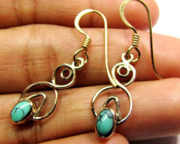 DROP SWING TURQUOISE  BRONZE EARRINGS RT 293