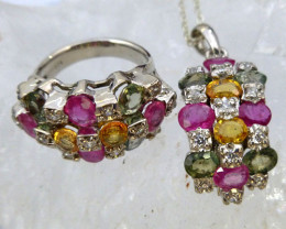 MULTI CLUSTER GEMSTONE MULTI SILVER PENDANT N RING RT 991