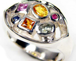 COLORFUL PARTY SAPPHIRES IN STERLING SILVER RING SIZE 9 GTJA46