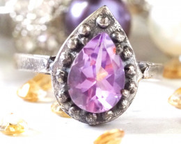 BIRTHSTONE FEB=FACETED AMETHYST STYLISH SILVER RING SIZE 7.5 GG1035