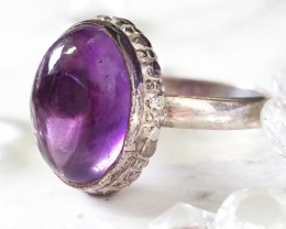 FEB BIRTHSTONE CABOCHON  AMETHYST STYLISH SILVER RING SIZE 9 GG1039