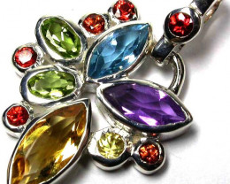 BEAUTIFUL MULTI FIRE  GEMSTONES 925 SILVER PENDANT GTJA384