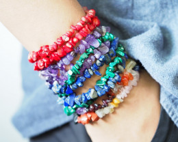 10 Beautiful Mixed Gemstone  Chip Bracelets SU670