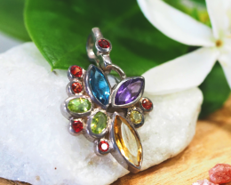 COLORFUL BRIGHT  MIX GEMSTONES 925 SILVER PENDANT GTJA366