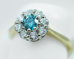 CERTIFIED BLUE DIAMOND .52 VSI 18 K GOLD RING SIZE 7 OP40