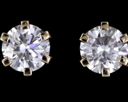 0.50 Cts Australian 9ct Gold Classic Diamond Earrings .50 ct JAO 38