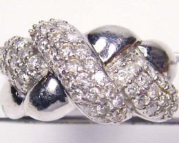 CERTIFIED One Cts of 59 Briliant cut Diamonds in Platinum Ring size 6    RT