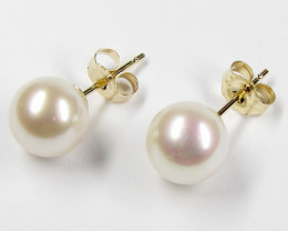 AUSTRALIAN  LARGE DYNASTY 14 K GOLD 8 MM PEARL EARRING STUD JAO