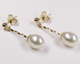 LONG DROP 14 K GOLD  AUSTRALIAN PEARL EARRING JAO 25