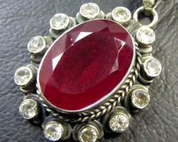43 TCW CTS AFRICAN RUBY SILVER PENDANT GG 773