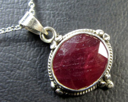23 TCW CTS AFRICAN RUBY SILVER PENDANT GG 766