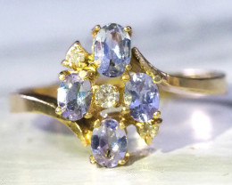 NATURAL TANZANITE & DIAMONDS 14KT GOLD RING SIZE 6.5 GTJA310