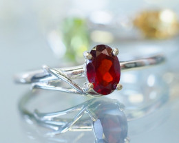 CUTE RED GARNET GEMSTONE 14K WHITE GOLD RING SIZE 7.5 MY240