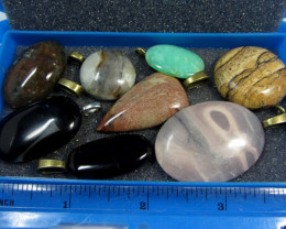 8 MIXED GEMSTONE PENDANTS-RE SELLERS PARCEL PLUS BONUS   MYGM 525