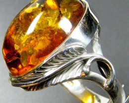 LARGE NATURAL BALTIC AMBER RING SIZE 12 MYG1236