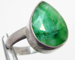 Pear Shape Emerald set in silver ring size 10.5 MJA 685