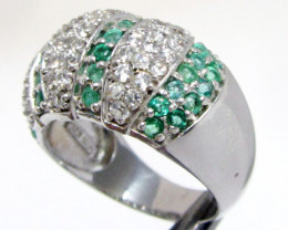 Emerald Gemstones n CZ in Silver Ring size 8 MJA 826