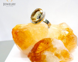 Bright  faceted Citrine set in silver ring size 10 MJA 710