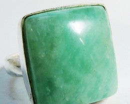 Large Sq Beautiful Amazonite in Silver Ring size 8 JGG 129