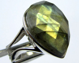 FLASHY FACETED LABRADORITE RING SIZE 8 GG 829