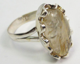 GOLDEN RUTILATED QUARTZ SILVER RING SIZE 7.5 GG 1021