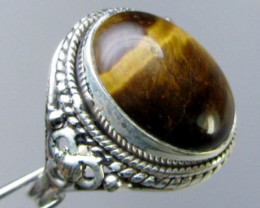 AUSSTRALIAN  TIGER EYE SILVER 925 RING SIZE 10 GG 1029
