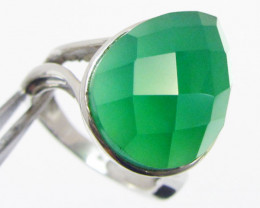 Green Onyx set in Silver ring size 6.5 MJA 700