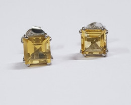 Citrine 925 Sterling silver earring #7705
