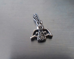 STERLING SILVER ANGEL PENDANT WITH MARCASITE GEMSTONES