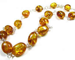 GOLDEN BALTIC AMBER BEAD NECKLACE 52 CM LENGTH MYG 422