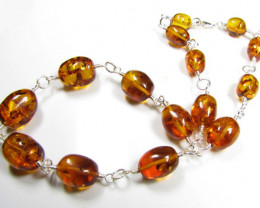 BALTIC AMBER BEAD NECKLACE 50 CM LENGTH MYG 424