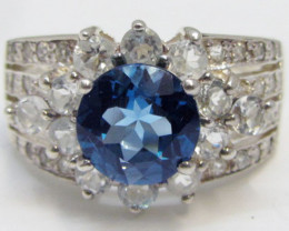 London Topaz Blue set in silver ring size 13.5 MJA 824