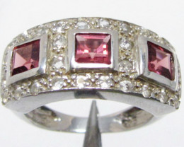 Multi Garnet set in Silver ring size 6 MJA 811