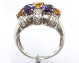 Brtiliant Amethyst n Citrine Silver Ring size 7.5 MJA 777