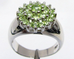 Cluster Peridot Gemstone set in silver ring size 7.5 MJA 805