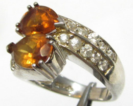 Sunset Orange Citrine set in silver ring size 8 MJA 788
