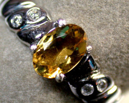 BEAUTIFUL CITRINE GEMSTONE 14K WHITE GOLD MY 607