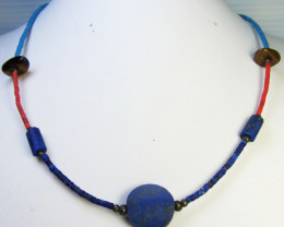 NATURAL LAPIS LAZULI n SERPENTINE NECKLACE RL37