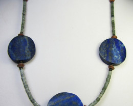 BLUE LAPIS LAZULI  &   SERPENTINE BEADS NECKLACE MJA 179