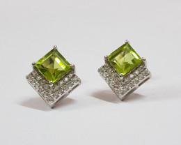 Peridot 925 Sterling silver earring #7796