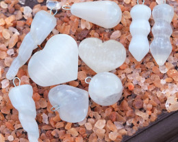Parcel 9 Mix Shapes Selenite Pendants WS331